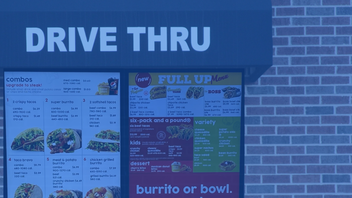 Digital menu drive thru